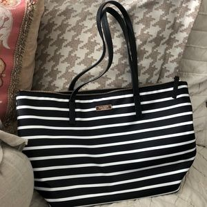 Adorable Kate Spade zip tote black & white stripe.